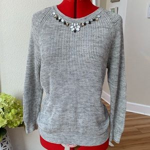 Ann Taylor LOFT womens L embellished gray sweater